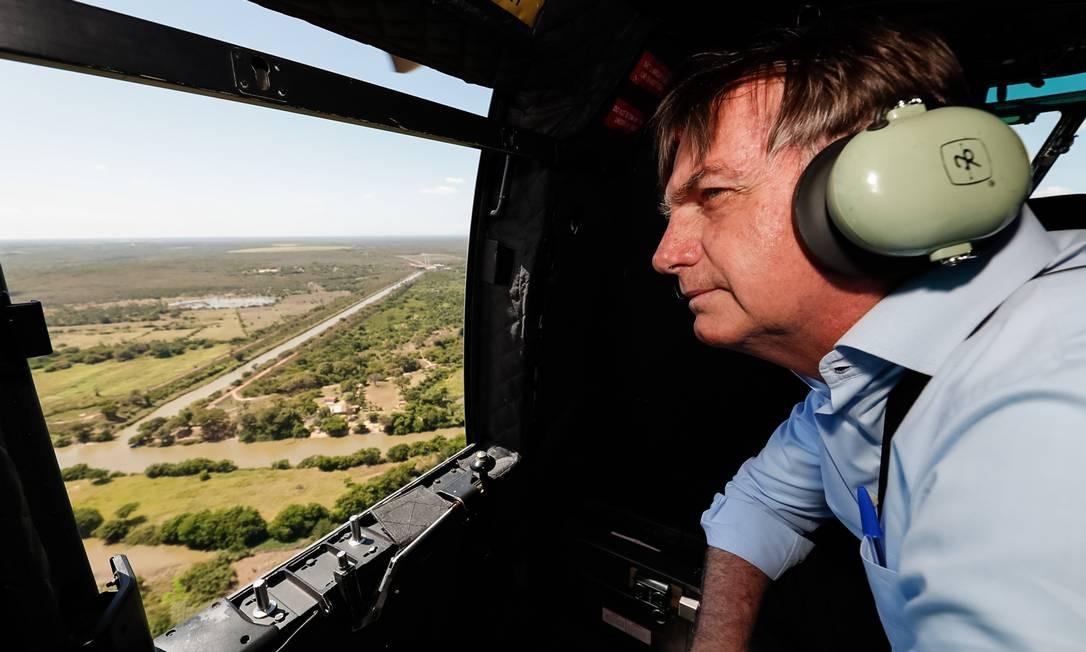 Bolsonaro participou das comemorações do aniversário de Parnaíba (175 anos). Presidente sobrevoou a área do Perímetro Irrigado dos Tabuleiros Litorâneos no município Foto: Alan Santos / PR