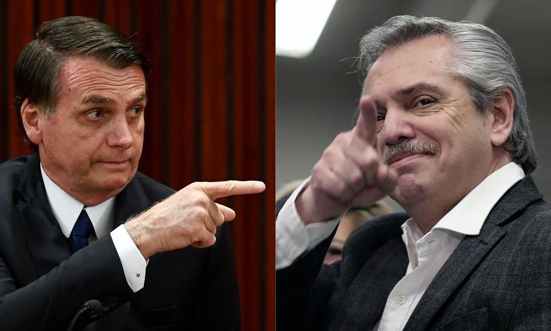 Bolsonaro e Alberto Fernández, candidato a presidente da Argentina, tem trocado acusações Foto: Evaristo Sá e Alejandro Pagni / AFP