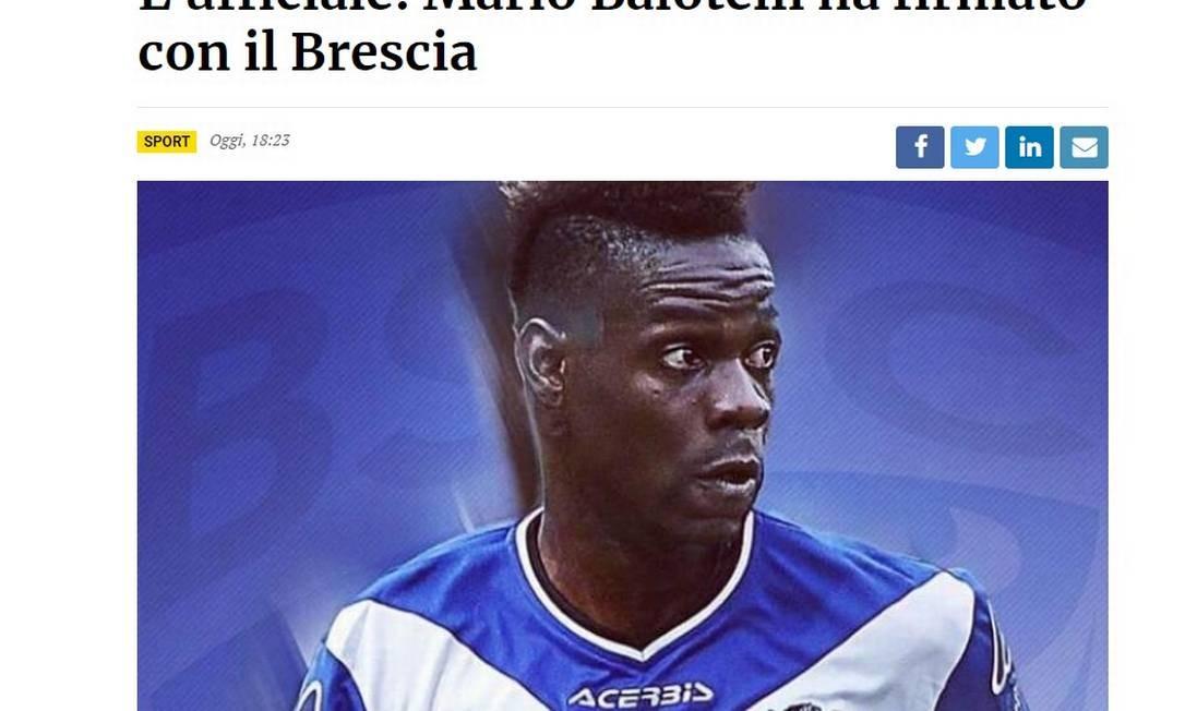 Chamada em jornal local diz que Balotelli assinou com o Brescia na terça Foto: Reprodução