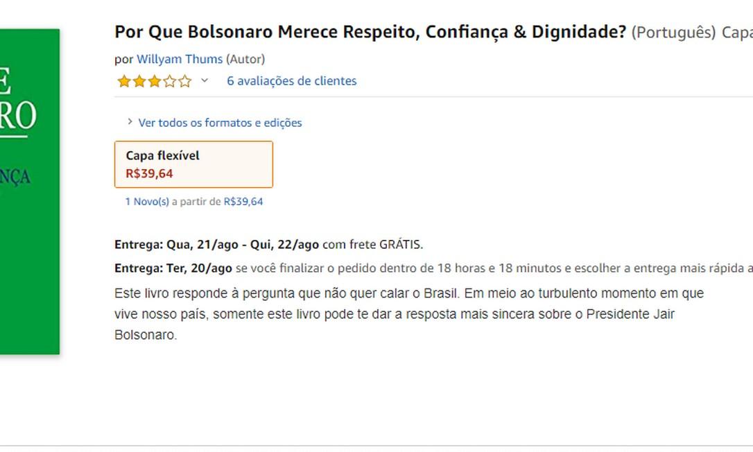 A R$ 39,64, o livro era vendido na Amazon com previsão de entrega para a próxima semana até o início desta tarde Foto: Reprodução
