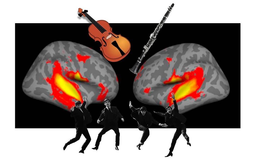 Pesquisadores americanos identificaram as marcas cerebrais do reconhecimento de emoções veiculadas por sons, instrumentos musicais ou a voz humana. As imagens do cérebro mostram as regiões especificamente ativadas por emoções musicais. Ilustração livre sobre neuroimagem dos pesquisadores americanos. Foto: Arte