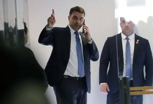O Ministério Público pediu que a PF tome depoimento do senador Flávio Bolsonaro (PSL-RJ) Foto: Jorge William / Agência O Globo