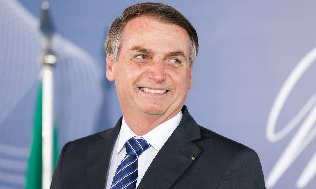 O prresidente Jair Bolsonaro durante a cerimônia no Palácio do Planalto Foto: Carolina Antunes/PR