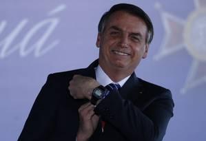 Bolsonaro participa da entrega da Medalha do Mérito Mauá, condecoração do Ministério da Infraestrutura. Foto: Jorge William / Agência O Globo