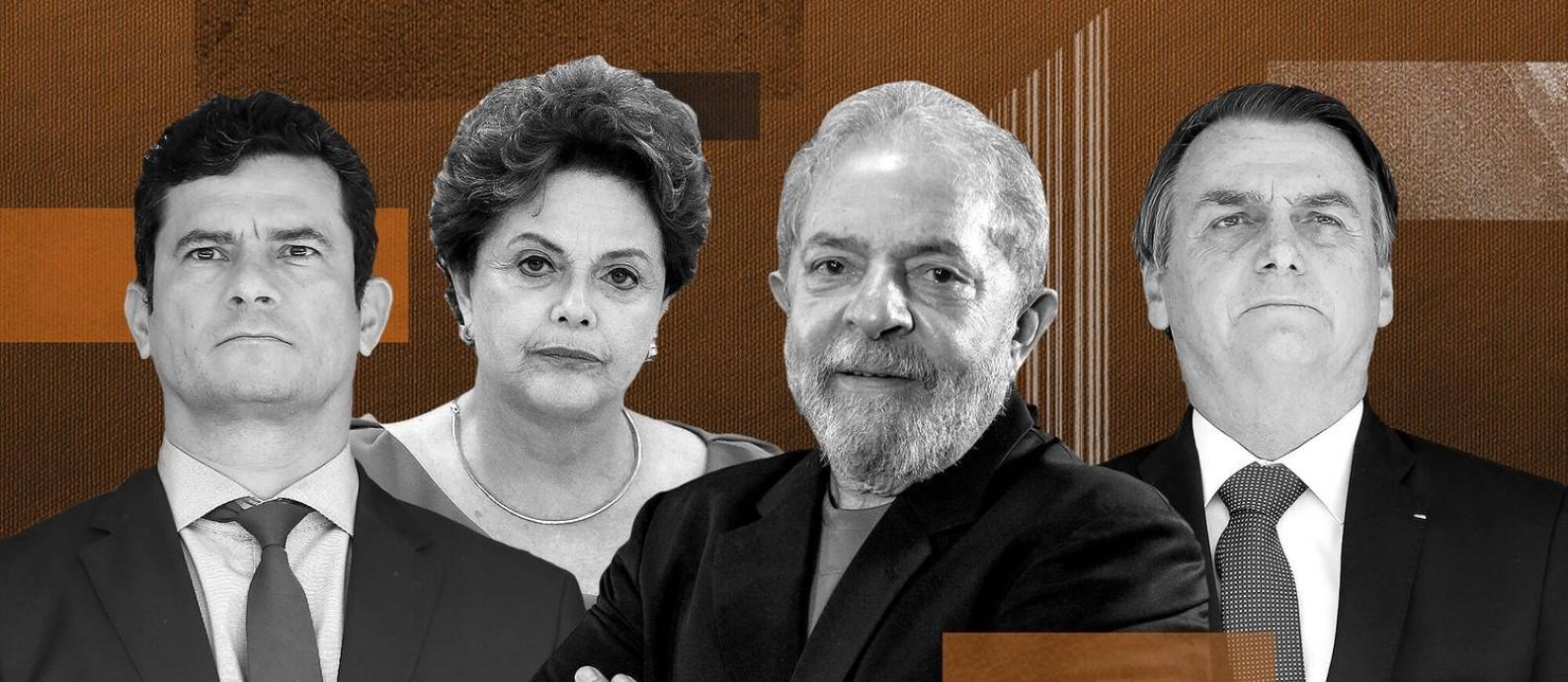 Personagens políticos que orbitam o ex-presidente Lula após condenação na Lava-Jato Foto: Arte/O Globo
