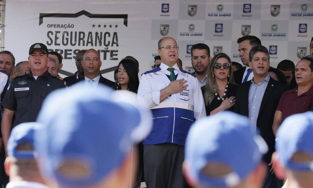 O governador Wilson Witzel na inauguração do Programa Segurança Presente em Nova Iguaçu, o primeiro na Baixada Fluminense Foto: Cléber Júnior / Agência O Globo