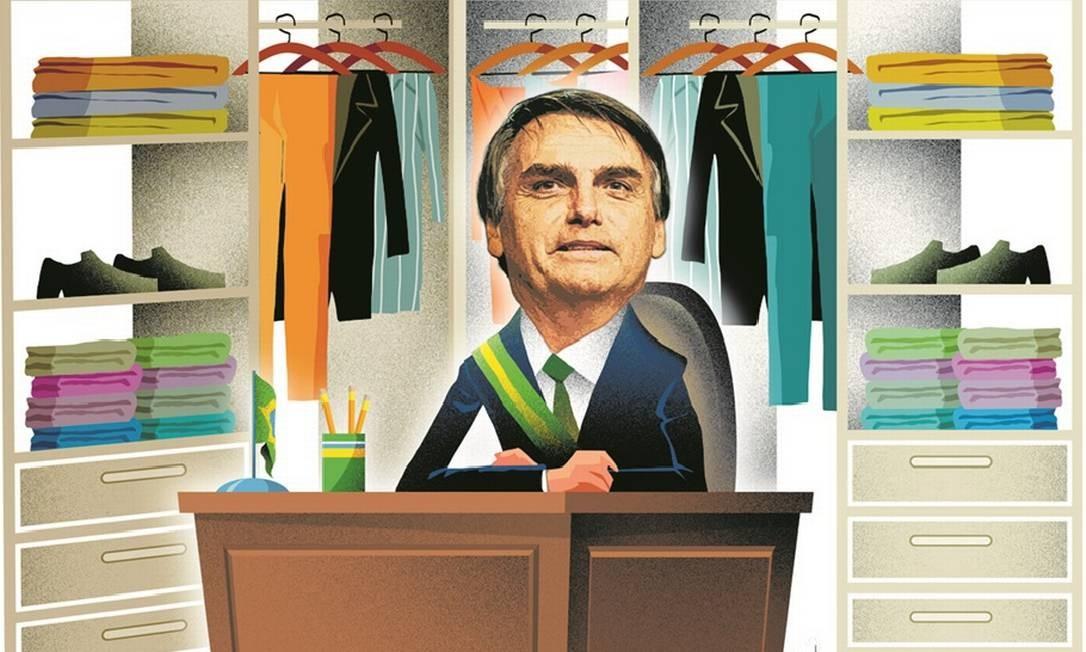 Bolsonaro instalou escrivaninha dentro do closet no Alvorada Foto: Arte de André Mello