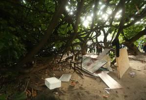 Casa na árvore chamou a atenção de agentes no Corte do Cantagalo Foto: Fabiano Rocha / Agência O Globo