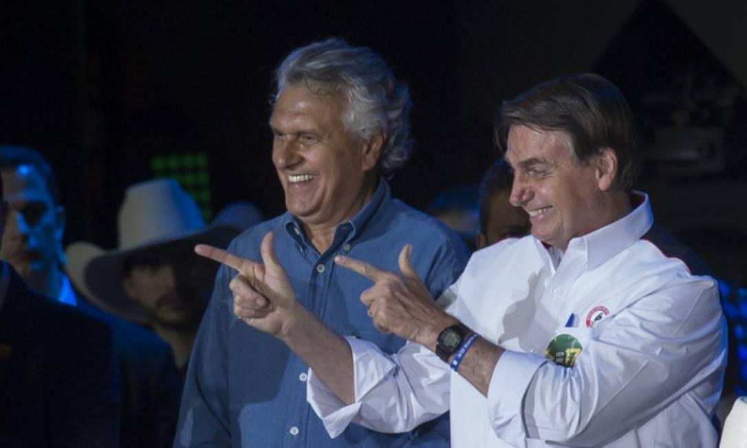 Presidente Jair Bolsonaro, ao lado do governador Ronaldo Caiado (DEM-GO), durante a festa do peão de Barretos Foto: Edilson Dantas / Agência O Globo