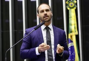 O deputado Eduardo Bolsonaro (PSL-SP) discursa no plenário da Câmara Foto: Michel Jesus/Câmara dos Deputados