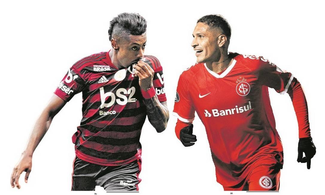 Bruno Henrique e Guerrero lideram Flamengo e Internacional Foto: Arte/O GLOBO