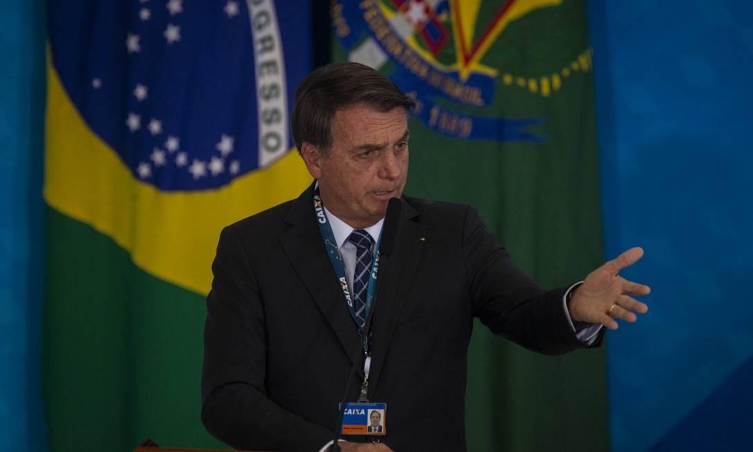 Bolsonaro durante evento na Caixa Econômica Federal, na terça-feira Foto: Daniel Marenco / Agência O Globo / 20-08-2019