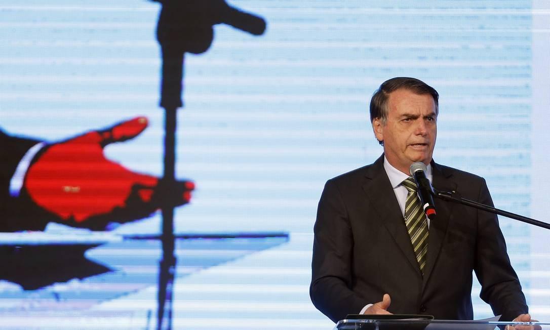 O presidente Jair Bolsonaro, durante o Congresso Aço Brasil, em Brasília Foto: Jorge William/Agência O Globo