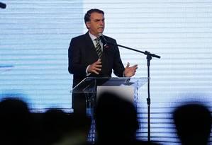O presidente Jair Bolsonaro, no Congresso Aço Brasil, em Brasília Foto: Jorge William / Agência O Globo