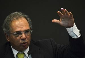 O Ministro da Economia, Paulo Guedes, durante o Seminário Declaração de Direitos de Liberdade Econômica Foto: Marcelo Camargo / Agência Brasil