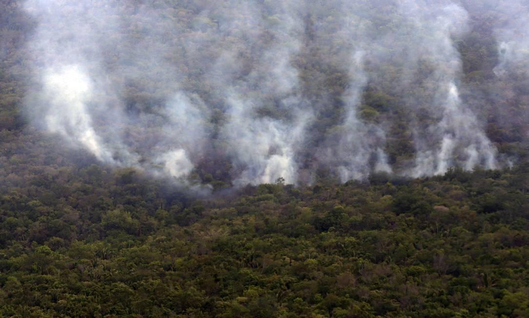 Foto aérea da queimada do Parque Nacional da Chapada dos Veadeiros Foto: Valter Campanato / Agência Brasil