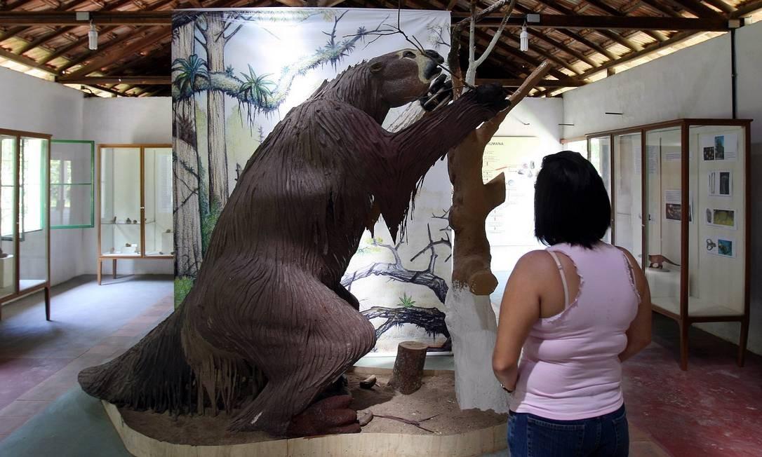 Réplica de preguiça gigante no Parque Paleontológico de São José de Itaboraí, em Itaboraí, que faz parte da região turística Caminhos da Mata Foto: Gabriel de Paiva / Agência O Globo