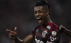 Bruno Henrique foi o artilheiro da vitória do Flamengo sobre o Internacional Foto: Guito Moreto / Agência O Globo