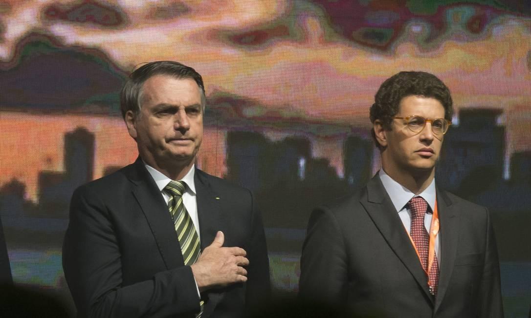 No Mato Grosso, Ricardo Salles, ao ser perguntado sobre a origem das queimadas, concordou parcialmente com o presidente Jair Bolsonaro, que avaliou que o aumento dos focos de incêndio pode ser intencional - 06/08/2019 Foto: Edilson Dantas / Agência O Globo