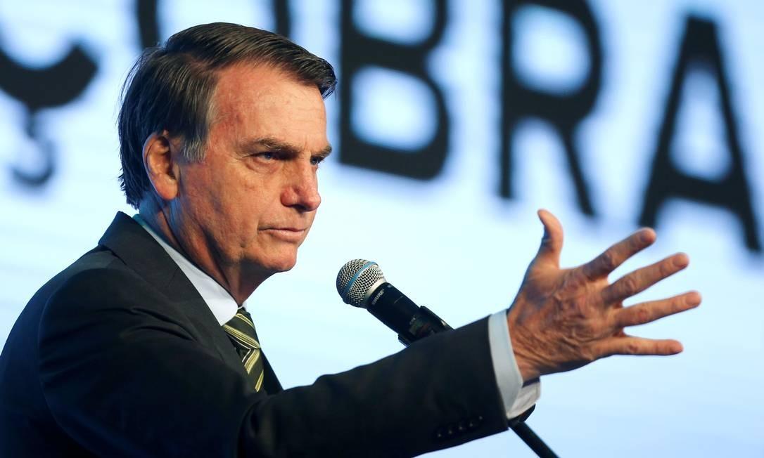 O presidente Jair Bolsonaro durante conferência em Brasília Foto: ADRIANO MACHADO 21-08-2019 / REUTERS