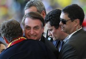 Presidente Jair Bolsonaro e ministro Sergio Moro (Justiça) assistem à final da Copa América no Maracanã Foto: Márcio Alves 07/07/2019 / Agência O Globo