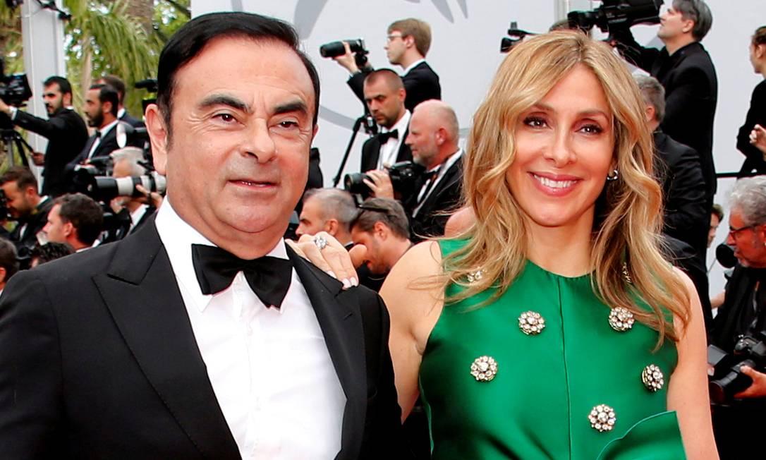 Carole e Ghosn, no Festival de Cannes de 2017: depois da fuga do marido do Japão para o Líbano, o casal voltou a viver junto Foto: Jean-Paul Pelissier / Reuters