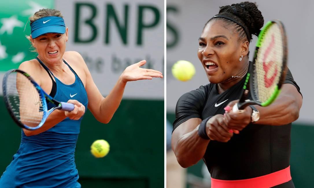 Sharapova e Serena vão se enfrentar pela primeira vez no US Open Foto: THOMAS SAMSON / AFP