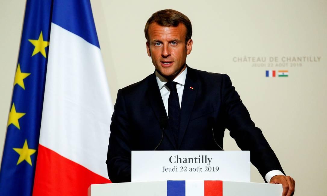 Presidente Emmanuel Macron quer discutir queimadas na Amazônia Foto: PASCAL ROSSIGNOL / AFP