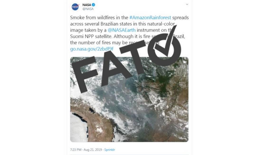 É #FATO que imagem de satélite da Nasa mostra uma camada de fumaça sobre a Amazônia Foto: Reprodução