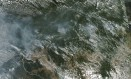 Imagem da Nasa mostra fumaça oriunda das queimadas na região da Amazônia Foto: LAUREN DAUPHIN / AFP