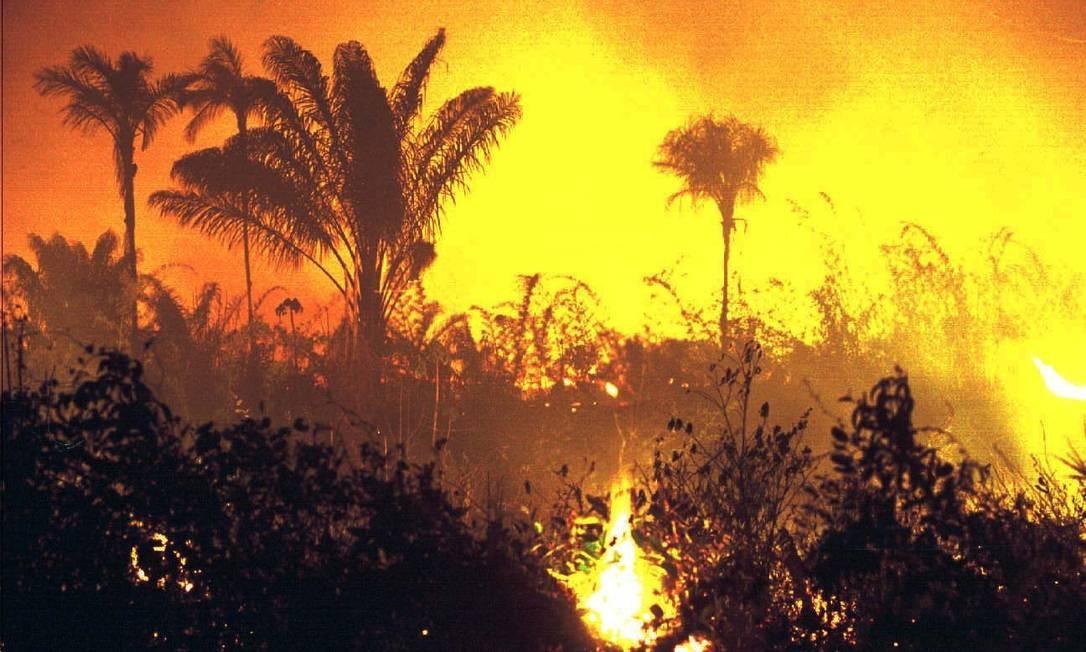 Foto de 1998 mostra incêndio na floresta, em Roraima: Brasil era vilão do meio ambiente Foto: Sérgio Lima / Folha Imagem