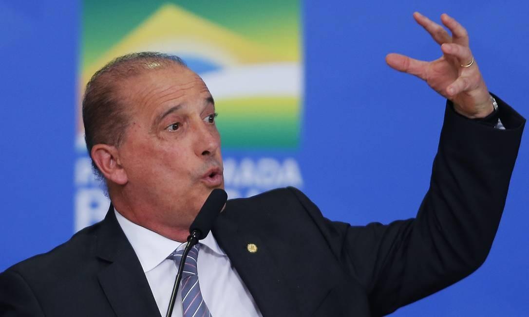 O ministro da Casa Civil, Onyx Lorenzoni, durante cerimônia no Palácio do Planalto Foto: Jorge William/Agência O Globo/30-07-2019
