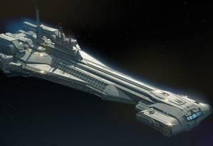 Desenho mostra o cruzador imperial Halcyon, que servirá de base para o Star Wars: Galactic Starcruiser, novo hotel em forma de nave que será construído na área Star Wars: Galaxy's Edge, no parque Hollywood Studios, no Walt Disney World, em Orlando Foto: Divulgação