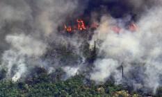 Um incêndio de dois quilômetros de extensão na Amazônia, no estado de Rondônia. Foto: CARL DE SOUZA / AFP
