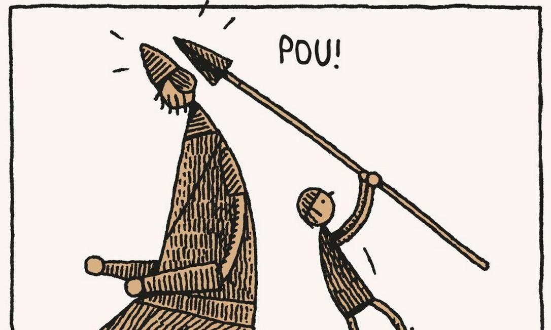 Nos desenhos do escocês Tom Gauld, o grandalhão filisteu não quer guerra com ninguém Foto: Divulgação