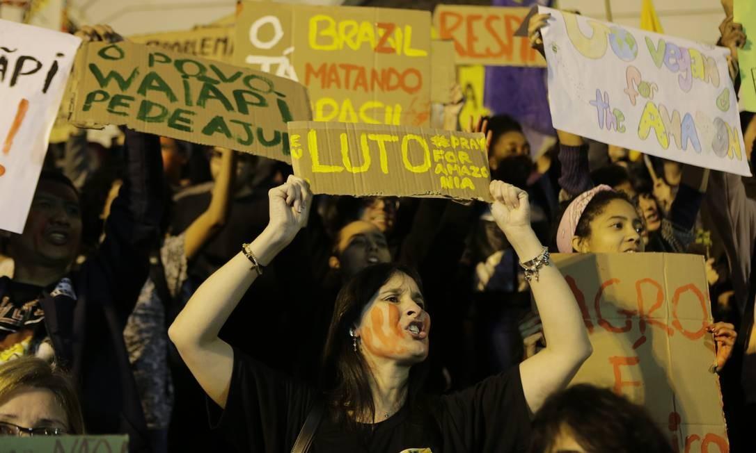 Manifestantes em prol da Amazônia se reúnem no Centro do Rio Foto: Alexandre Cassiano / Alexandre Cassiano