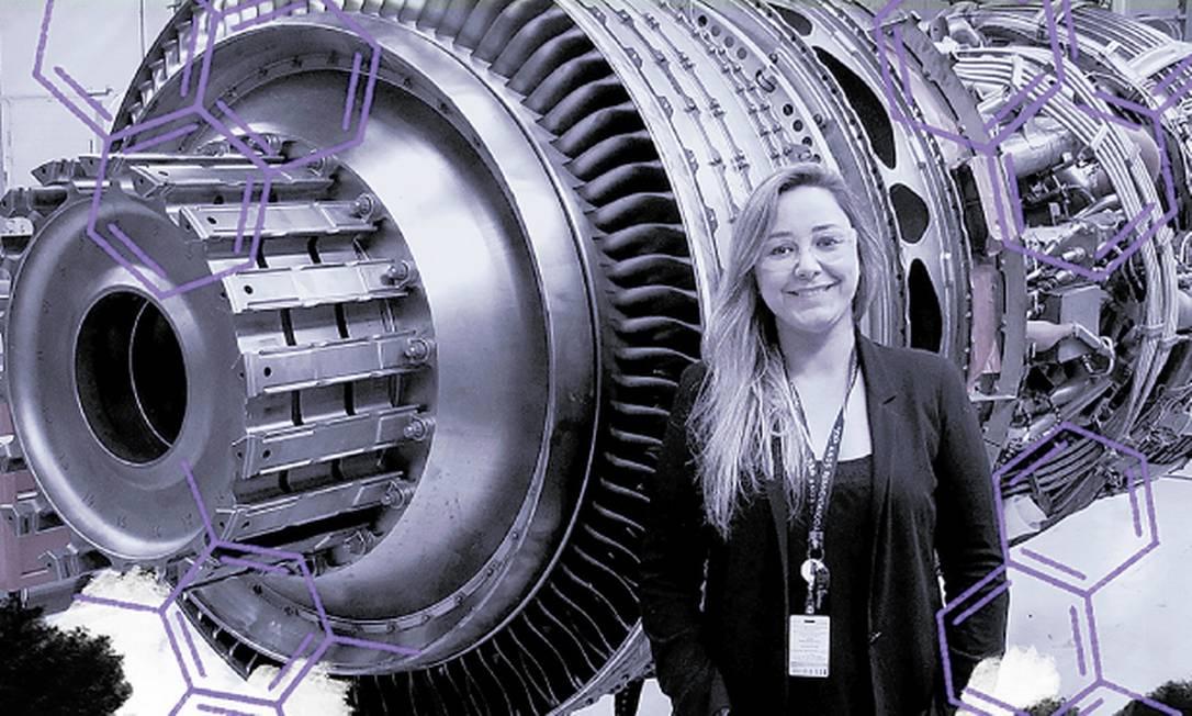 Turbina de avião. Juliana Bernstorff é engenheira mecânica na GE Celma Foto: Arte sobre Divulgação/GE Celma