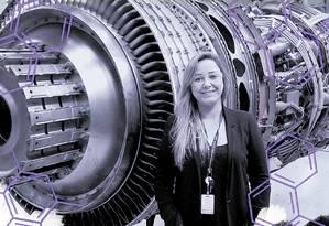 Turbina de avião. Juliana Bernstorff é engenheira mecânica na GE Celma Foto: Divulgação/GE Celma