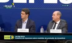 Ministro do Meio Ambiente, Ricardo Salles, e ministro da Defesa, Fernando Azevedo, explicam como serão as ações na Amazônia. Foto: Reprodução
