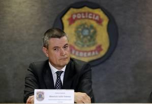 Maurício Valeixo, superintendente da PF, durante entrevista coletiva em Curitiba Foto: Paulo Lisboa 05-03-2018 / Agência O Globo