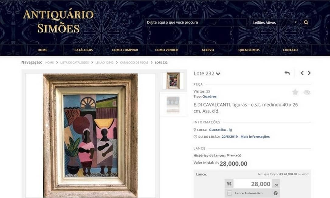 Quadro falsificado de Di Cavalcanti era oferecido em site por R$ 28 mil Foto: reprodução