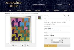 Obra atribuída a Alfredo Volpi tinha lance inicial de R$ 400 Foto: reproduções