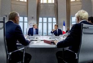 Líderes do G7 na rodada de encontros deste domingo Foto: POOL / REUTERS