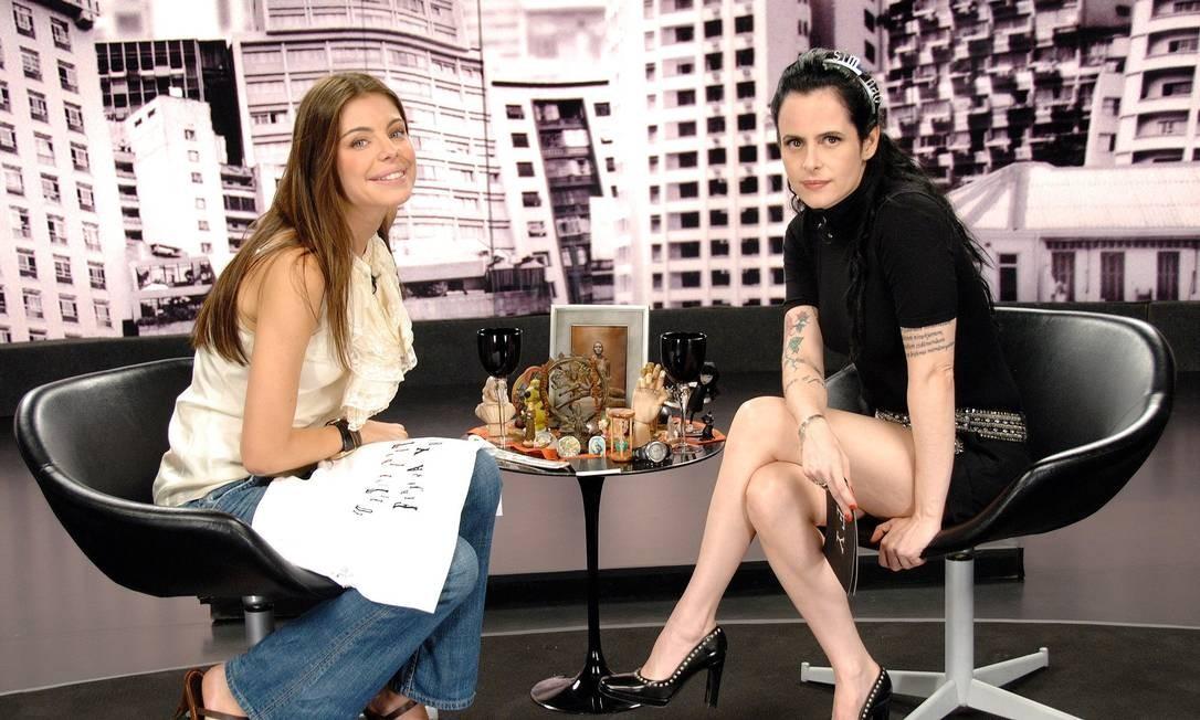 """Daniela Cicarelli e Fernanda Young na gravação de """"Irritando Fernanda Young"""" do Canal GNT Foto: Divulgação"""