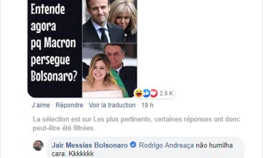 """Seguidor posta foto de Macron e a mulher em um post do presidente brasileiro, com a legenda: """"Agora entende por que Macron persegue Bolsonaro?"""". O próprio respondeu: """"Não humilha cara. Kkkkkkk"""". Foto: Reprodução"""