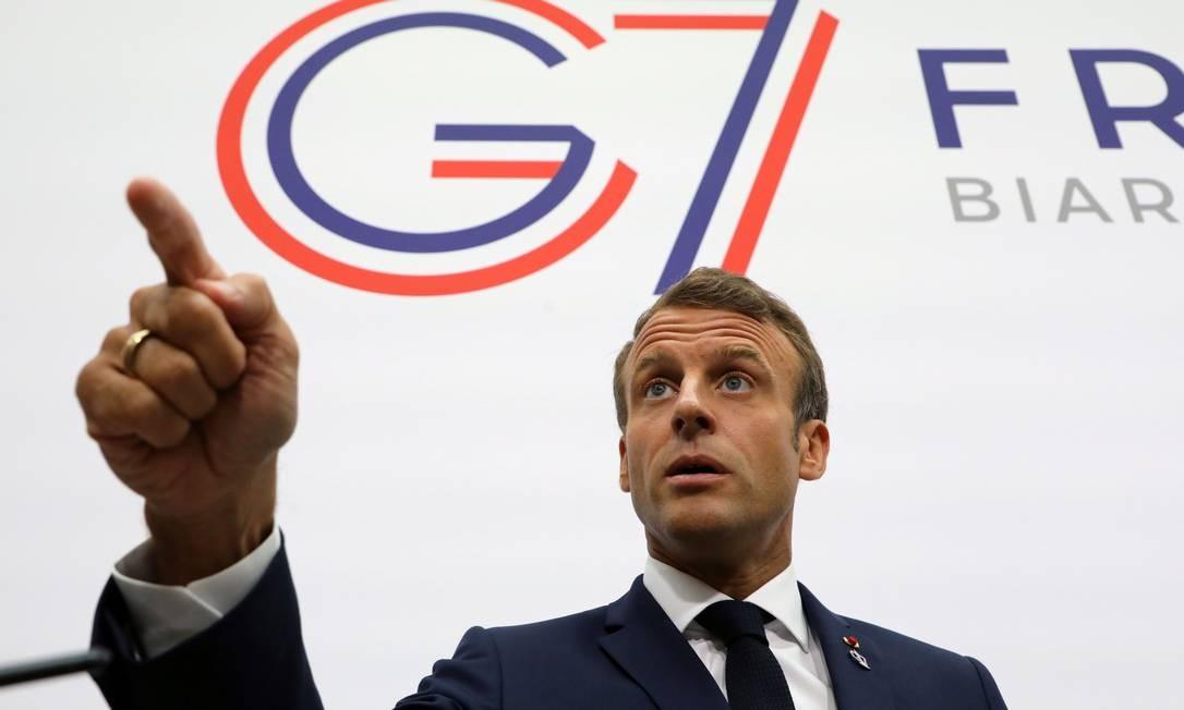 O presidente da França, Emmanuel Macron, na reuniçao do G-7 Foto: LUDOVIC MARIN / AFP