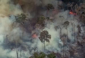 Foto aérea tirada pelo Greenpeace mostra fumaça cobrindo a floresta em Candeias do Jamari, próximo de Porto Velho (RO) Foto: VICTOR MORIYAMA / AFP
