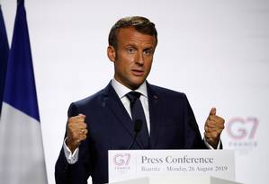 Macron dá entrevista no último dia da cúpula do G7, em Biarritz, na França Foto: François Mori / REUTERS