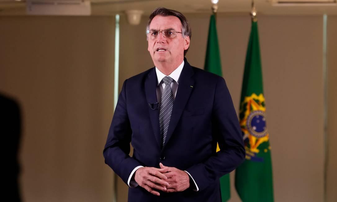 Presidente Jair Bolsonaro em pronunciamento sobre Amazônia, na última sexta-feira Foto: Agência O Globo