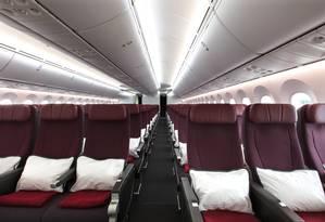 Interior do Boeing 787-9 Dreamliner, que será usado pela Qantas nos voos sem escalas de Sydney para Nova York e Londres Foto: Brent Winstone / Qantas Airways / Divulgação